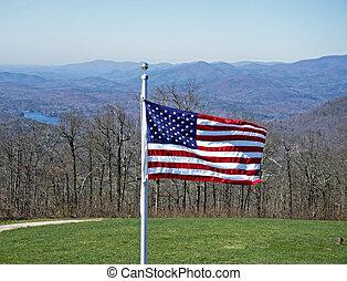 amerikan flagga, på, a, fjäll