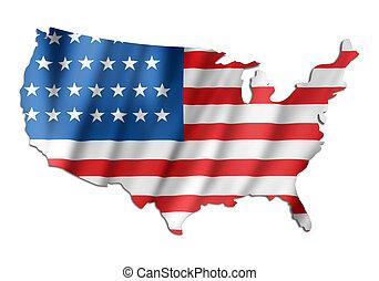 amerikan flagga, på, a, usa, karta