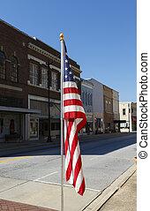 amerikan flagga, visat, längs, huvud gate