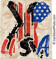 amerikan, grunge, flag., en, amerikan, grunge, flagga, för, a, bakgrund, av, a, poster.