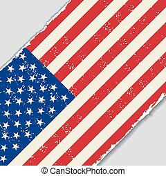 amerikan, grunge, flag., vektor, illustration.