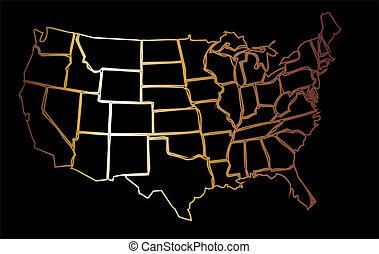 amerikan, gyllene, karta, eps8, vektor, konst