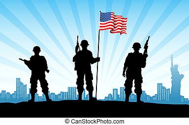 amerikan, här, med, flagga