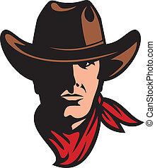 amerikan, huvud, cowboy