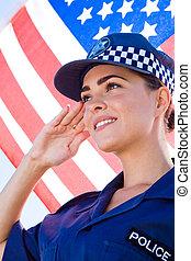 amerikan, kvinnlig polis