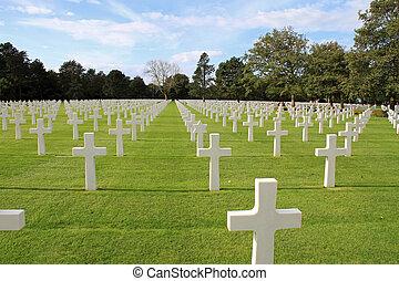 amerikan, kyrkogård, in, normandie