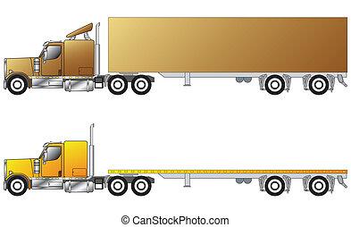amerikan, lastbil, konventionell, släpvagn