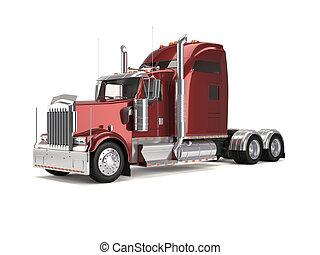 amerikan, lastbil, röd