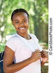amerikan, lycklig, student, afrikansk