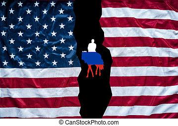 amerikan, och, ryskt sjunka, kombinerade