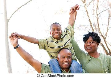 amerikan, parkera, familj, afrikansk