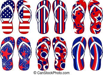 amerikan, plumsar, flagga, flip