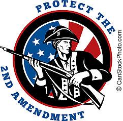 amerikan, revolutionär, soldat, med, gevär, flagga