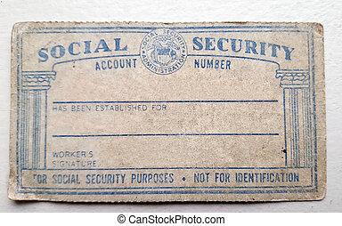 amerikan, social säkerhet kort, slitet