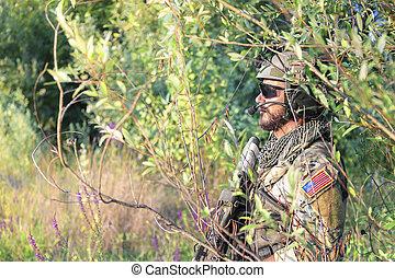 amerikan, soldat, in, den, buskar