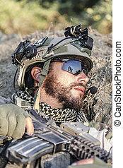 amerikan, soldat, på det slipat