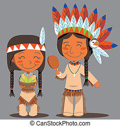 amerikan, tacksägelse, par, dag, inföding