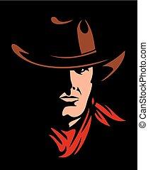 amerikan, vektor, illustration, cowboy