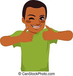 amerikaner, afrikansk, tommelfingre oppe, mand