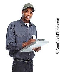 amerikaner, arbejder, man., afrikansk