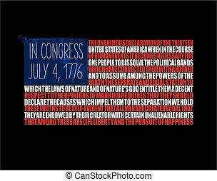 amerikaner flag, -, af juli til forth, uafhængighed erklæring, tekst
