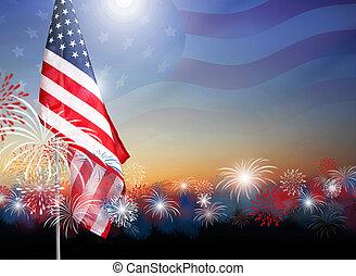 amerikaner flag, hos, fyrværkerier, hos, aftenskumringen, baggrund, konstruktion, by, 4, juli, dag uafhængighed, eller, anden, fest