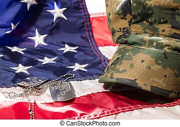 amerikaner flag, hos, militær, afdækket, og, hund, tags