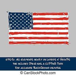 amerikaner flag, lejlighed, -, kunstneriske, børste strokes, og, plaske