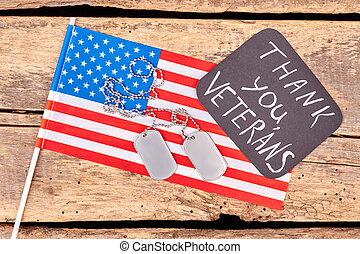 amerikaner flag, og, hund, tags.