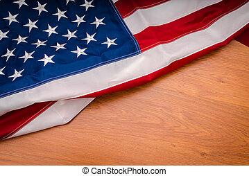 amerikaner flag, på, træ, baggrund