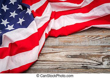 amerikaner flag, på, træ, baggrund, .