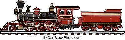 amerikaner, gamle, damp, rød, lokomotiv