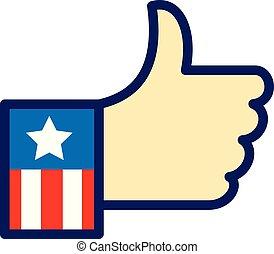 amerikaner, hånd, tommelfingre oppe, ikon