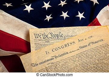 amerikaner, historiske, dokumenter, på, en, flag
