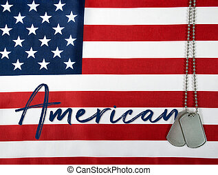 amerikaner, hund, tags, på, flag