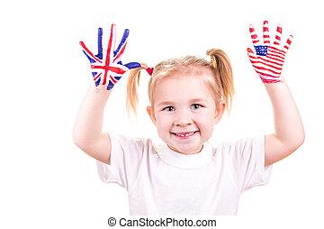 amerikaner, og, engelsk, flag, på, barn, hands.