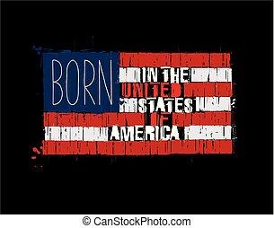 amerikaner, tekst, flag, -, født, ind, den, united states