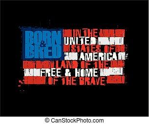 amerikaner, tekst, flag, -, land, i, den, fri, hjem tapper, negativ