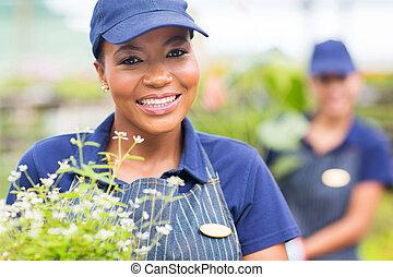 amerikanische , afro, weibliche , gärtner