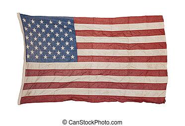 amerikanische , altes , fahne, getragen