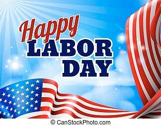 amerikanische , arbeit, kennzeichnen banner, tag, glücklich