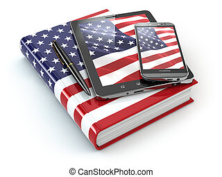 amerikanische , englisches , learning., beweglich, vorrichtungen & hilfsmittel, smartphone, tablette pc
