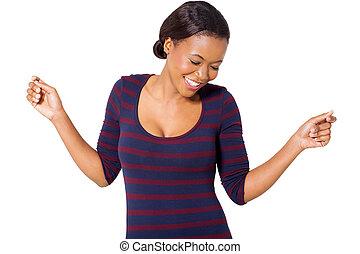 amerikanische frau, afrikanisch, tanzen