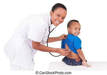amerikanische frau, kind, afrikanisch, doktor