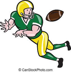 amerikanische , fußball, breiter empfänger, ertappen, kugel,...