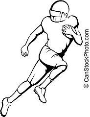 amerikanische , fußball, laufen zurück