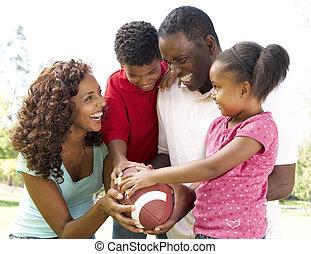 amerikanische , fußball, park, familie
