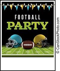 Party, amerikanische , fußball, flieger. Eigen, text,... EPS Vektor ...