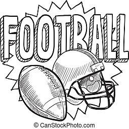 amerikanische , fußball, skizze