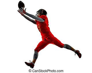 amerikanische , fußball- spieler, teenager, frau mädchen, schatten, freigestellt